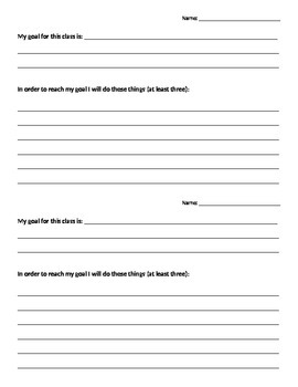 Goals Sheet