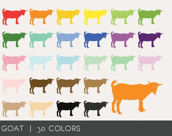 Goat Digital Clipart, Goat Graphics, Goat PNG, Rainbow Goa