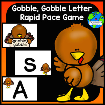 Gobble, Gobble Letter name and Letter Sound Game in Spanis
