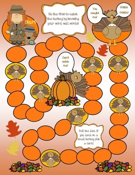 Thanksgiving Word Wall Board Game