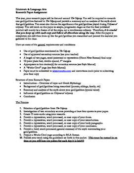 God/Goddess Research Paper - The Odyssey Unit - Odyssey Re