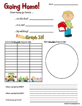 Going Home Math Graphing Activity Common Core Aligned 1.MD.4.