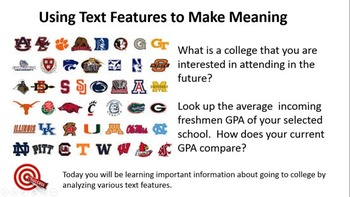 Going to College!  Using Text Features to Make Meaning