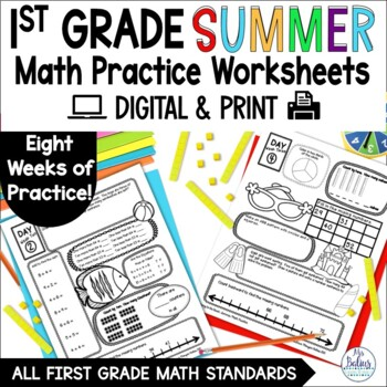 Summer Math First Grade Review End of Year Aligned