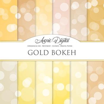 Gold Bokeh Digital Paper dots sparkle yellow light circles