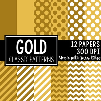 Gold Classic Designs- 12 Digital Papers