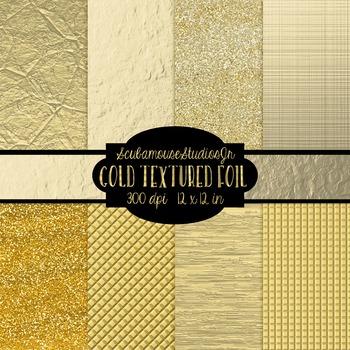 Gold Digital Paper, 12x12 inch 300 dpi, Gold Textured Foil