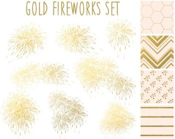 Gold Fireworks Clipart, New Year, Gold Paper, Fireworks Cl
