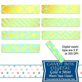 Gold Foil & Mint Digital Washi Tape for Photobooks and Pic