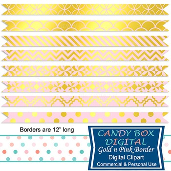 Gold Foil & Pink Ribbon Borders for Newsletters, Cards, an