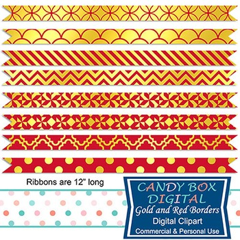 Gold Foil & Red Ribbon Borders for Newsletters, Cards, and