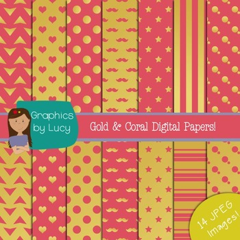 Gold Foil and Coral Digital Paper 14 JPEG Images {Personal