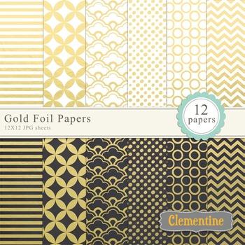 Gold Foil digital papers art