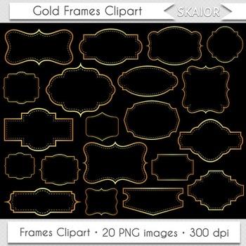 Gold Frames Clipart Golden Borders Clip Art Yellow Printab