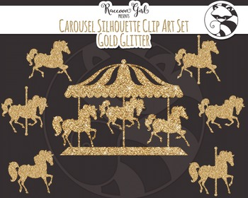 Gold Glitter Carousel Silhouette Clip Art Set