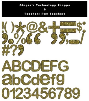 Gold Glitter Characters * Numbers * Symbols * Punctuation