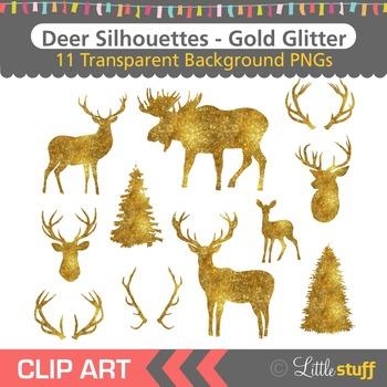 Gold Glitter Deer Silhouette Clipart, Deer Head Silhouette