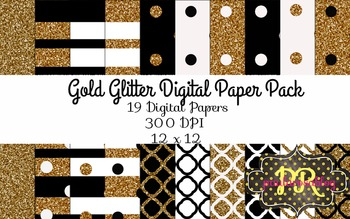 Gold Glitter, Black, and White Digital Paper