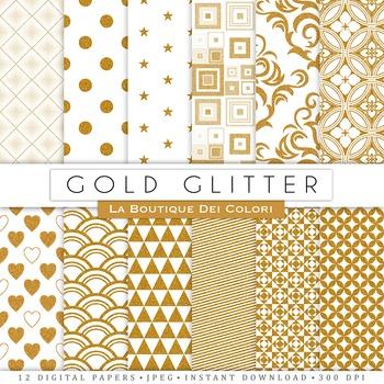 Gold Glitter Digital Paper, scrapbook backgrounds