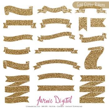Gold Glitter Ribbon Banners clip art - Golden ribbons clip