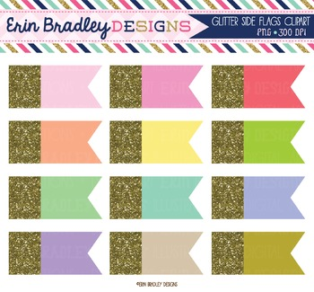 Gold Glitter Side Flags Clipart
