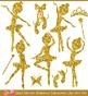 Gold Glitters Ballerina Silhouettes Clipart Set