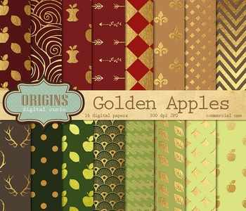 Gold Green and Red Apples Digital Paper Pack Pattern Backgrounds