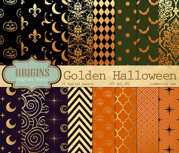 Gold Halloween Digital Paper Pack Backgrounds