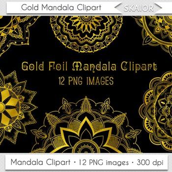 Gold Mandala Clipart Digital Flowers Clip Art Henna Colori