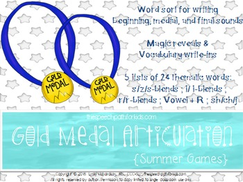 Gold Medal Articulation: Summer games {Freebie}