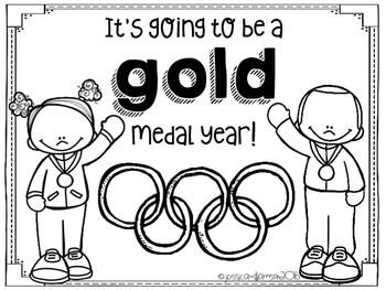 Gold Medal Year Coloring Sheet