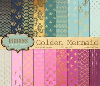 Gold Mermaid Digital Paper - Scrapbook Paper Nautical Backgrounds