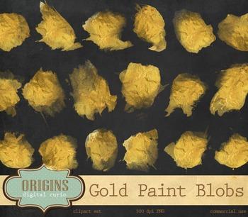 Gold Paint gold foil watercolor watercolour ink spots circ