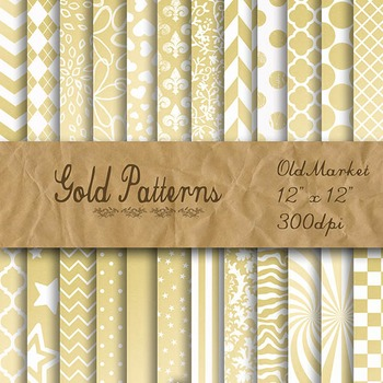 Gold Pattern Designs - Digital Paper Pack - 24 Different P