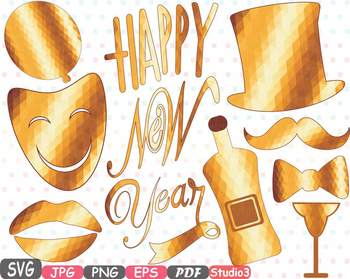 Gold Props Happy New Year 2017 clipart Party Photo Booth h