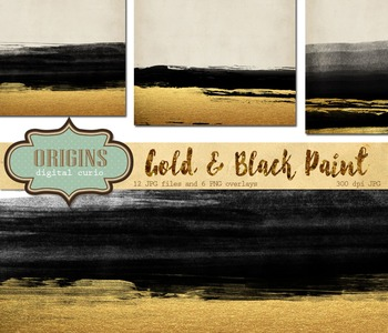 Gold and Black Watercolor paint strokes digital paper back