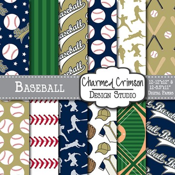 Gold and Navy Blue Baseball Digital Paper 1510