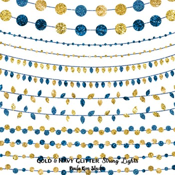 Gold and Navy Glitter String Lights
