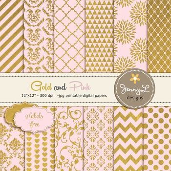 Gold and Pink Digital Papers