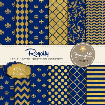 Gold and Royal Blue Digital Papers, Royalty Papers