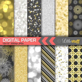 Gold and Silver Celebration Digital Papers