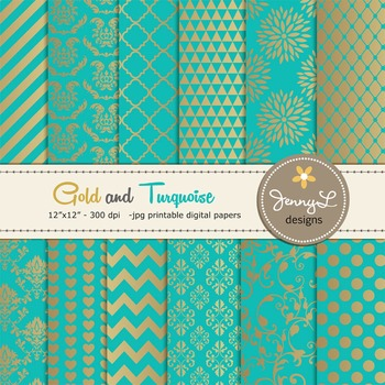 Gold and Turquoise Digital Papers