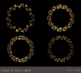 Gold borders and frames clipart, Round gold wreath clipart