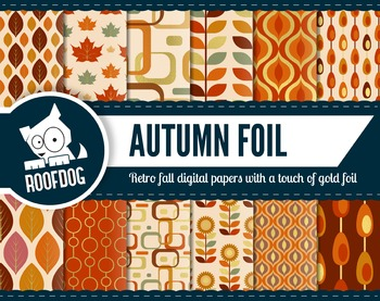 Gold foil look retro fall themed digital papers autumn lea