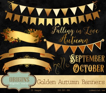 Golden Autumn Banners and Frames Clipart