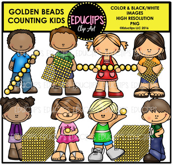 Golden Beads Counting Kids Clip Art Bundle