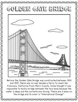 Golden Gate Bridge Informational Text Coloring Page Activi