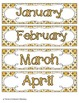 Golden Gray Geometric Calendar Numbers, Months and Days