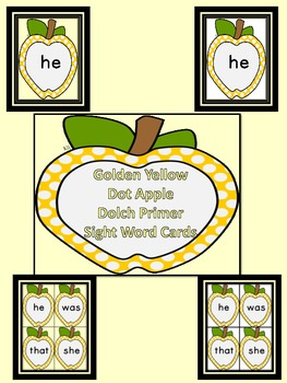 Golden Yellow Dot Apple  Dolch Primer Sight Word Flashcard