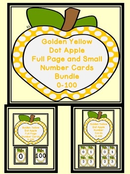 Golden Yellow Dot Apple Number Flashcards and Posters Bund